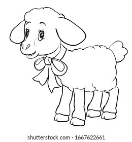 Cartoon style little lamb with a bow on the neck is drawn in outline. isolated object on a white background. vector illustration.
