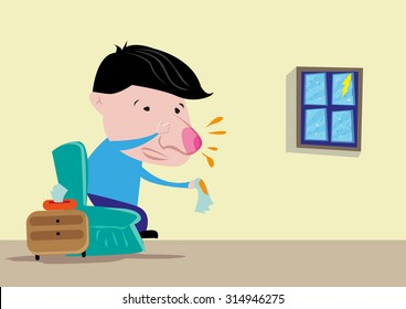 Cartoon style of Man or child with Red Nose and Flu on a Rainy Day. Editable Clip Art.