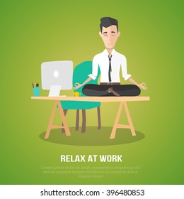 cartoon style man meditation in office. yoga at job. young man relaxing in lotus position on table with computer at work