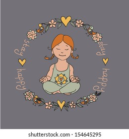 Cartoon style meditating girl