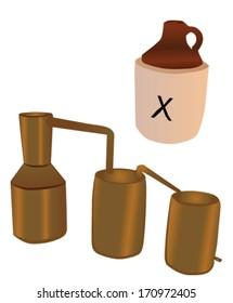 cartoon style moonshine still with thump keg and retro jug