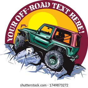 Cartoon style off-road vehicle suitable for logo design.