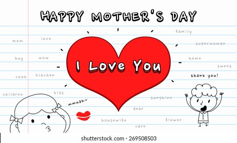 """Cartoon style pencil drawing Happy Mother's Day card template/ big red heart in the middle with text saying """"I Love You""""/ little girl giving an air kiss and the other kid saying """"thank you"""""""