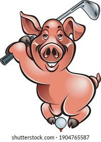 cartoon style pig playing golf