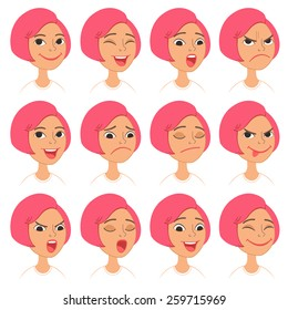 Cartoon Style Pink Hair Girl. Vector Set of Different Emotions Icons. Easy to modify and edit. Isolated on white background