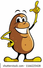 Cartoon style potato character, isolated potato vector logo.