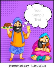 cartoon style Punjabi character illustration