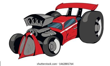cartoon style racing car hot rod