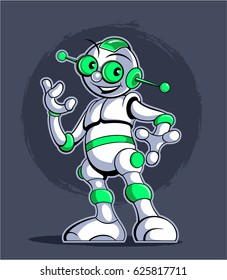 Cartoon style robot, white robot with bright green inserts, modern technology vector image