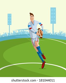 cartoon style rugby player in vector