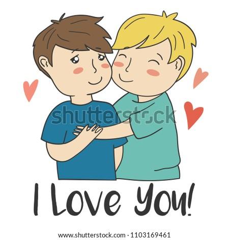 Cartoon Style Samesex Couple Text I Stock Vector Royalty Free