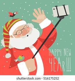 Cartoon style Santa Claus making selfie