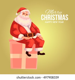 Cartoon style Santa Claus sitting on a gift box, Christmas vector greeting card. Full length portrait of Santa sitting on a present box on gold background, greeting card template for Christmas eve