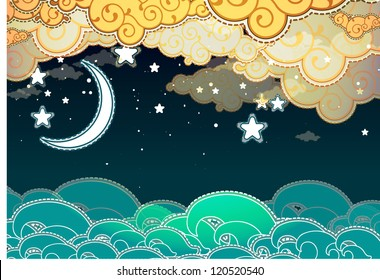Cartoon style sea and clouds at night