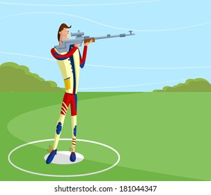 cartoon style shooter making aim with gun in vector