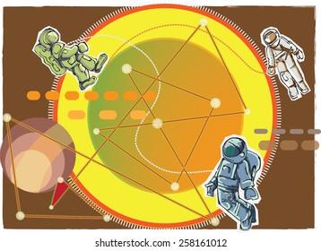 cartoon style spacemen , illustration