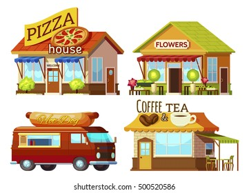 Cartoon style street restaurant fronts and food truck set with signs and carpets of different colour vector illustration