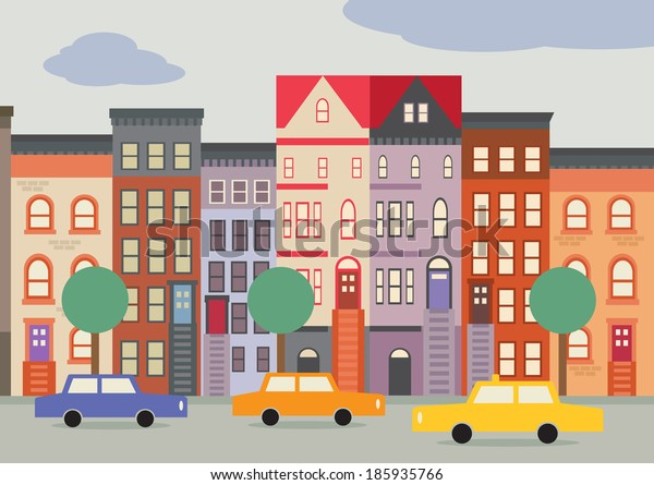 A cartoon style street scene of a Brooklyn Street, with Brownstone houses.