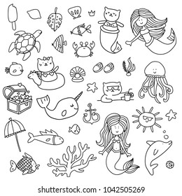Cartoon style summer sea magic mermaids illustration elements set for adult coloring book. Underwater life collection in lines. Cat mermaids, dolphin, crab, whale and others.