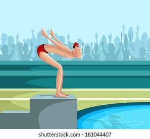 cartoon style swimmer diving into pool in vector