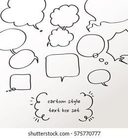 cartoon style text box, black line, speech bubble, tooltip, Vector EPS10