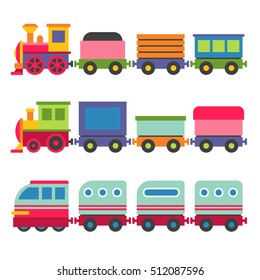 Cartoon Style Toy Railroad Train Set. Vector illustration