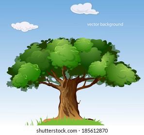 ? cartoon style tree. Vector illustration