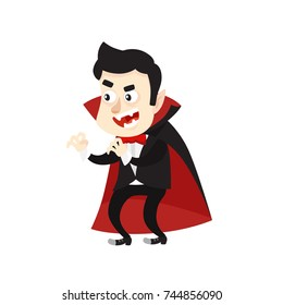 Cartoon Style Vampire Dracula Character. Vector Illustration