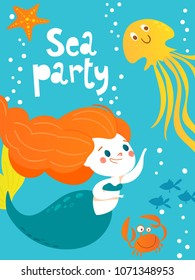 Cartoon style vector card with cute little mermaid girl and deep ocean and sea fish. Summer poster. Sea party poster.