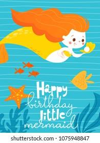 Cartoon style vector card with cute little mermaid girl and deep blue ocean. Summer poster. Happy birthday card.