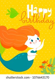 Cartoon style vector card with cute little mermaid girl and sea fish. Summer poster.  Happy birthday card.