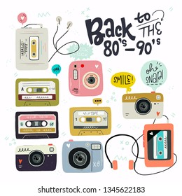 Cartoon style vector cliparts. Set of old school cassette tapes, players and photo camera. Great design element for sticker, patch or poster. Unique and fun nostalgic 80's-90's drawing and inscription