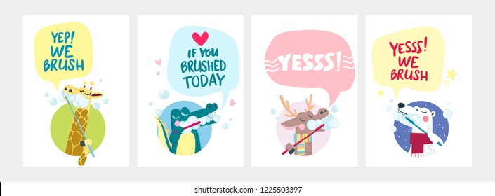 Cartoon style vector illustration with four different animals enjoying brushing their teeth and motivational quotes.