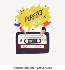 Cartoon style vector illustration with an old school cassette tape, small people sitting on it and The Perfect Mix handwritten phrase. Great design element for sticker, patch or poster.
