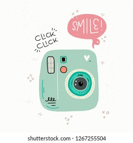 Cartoon style vector illustration of the photo camera, Smile and Click Click hand lettering. Great design element for sticker, print or poster. Cute 90s nostalgic drawing and inscription.