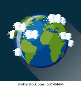 Cartoon style vector illustration of planet Earth, view from space. Planet Earth icon. Planet earth globe map with blue ocean, green continents and clouds around. Solar system series.