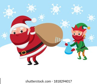 Cartoon style vector illustration of Santa Claus and elf disinfecting Christmas gifts sack