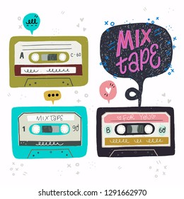 Cartoon style vector illustration with set of old school cassette tapes and Mix Tape hand lettering. Great design element for sticker, patch or poster. Unique and fun drawing and inscription.