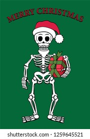 Cartoon style vector illustration of skeleton Santa Claus