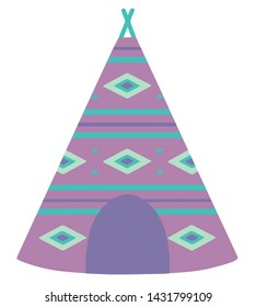 Cartoon style vector illustration of a violet tipi tent with bohemian ethno pattern