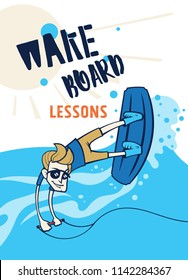 Cartoon style wake boarding lessons poster