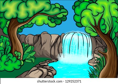 Cartoon style waterfall in the forest