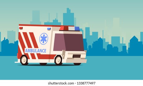 Cartoon Styled Side View Ambulance Car on Blue Cityscape Background. IsoFlat Styled Vector Illustration.