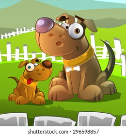 Cartoon styled vector illustration of dog and puppy.