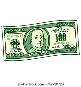 Cartoon stylized 100 dollar bill with caricature Franklin portrait. Money banknote drawing, vector illustration.