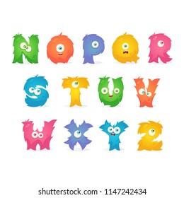 Cartoon Stylized Letters. English Alphabet Set 2 of 2