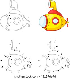 Cartoon submarine. Coloring book and dot to dot educational game for kids