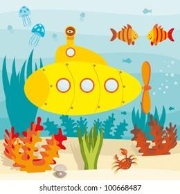 Cartoon submarine investigates the ocean