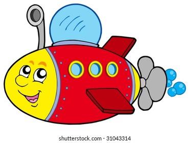 Cartoon submarine on white background - vector illustration.