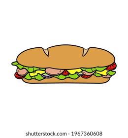 Cartoon Submarine Sandwich Vector Illustration